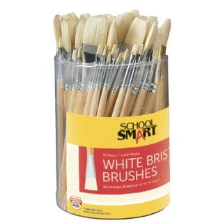 School Smart Interlocked White Bristle Short Handle Paint Brush Set, Assorted Size, Clear, Set of 72