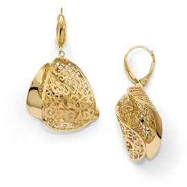 Italian 14k Gold Polished Dangle Leverback Earrings