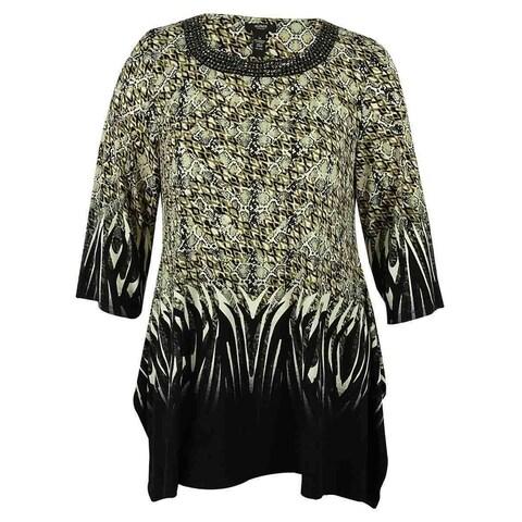 Alfani Women's 3/4 Sleeve Embellished Neck Blouse