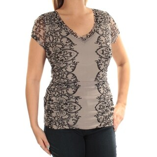 Womens Gray Printed Short Sleeve V Neck Casual Top Size XXL