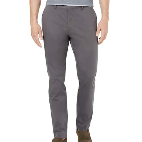 Tasso Elba Mens Chino Pants Kettle Gray 38x32 Flat Front Stretch Twill