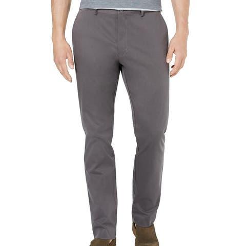 Tasso Elba Mens Pants Deep Gray Size 38X32 Flat-Front Chino Stretch