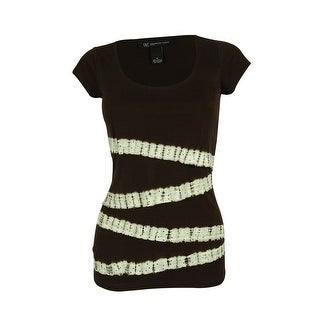 INC International Concepts Women's Tiered Tie Dye Tee - double espresso - pxs