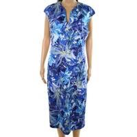 Connected Apparel Blue Women's Size 14 Floral Print Shift Dress