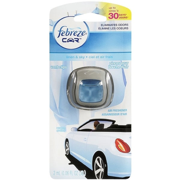 Febreze Car Vent Clip Air Freshener, Linen & Sky 1 ea