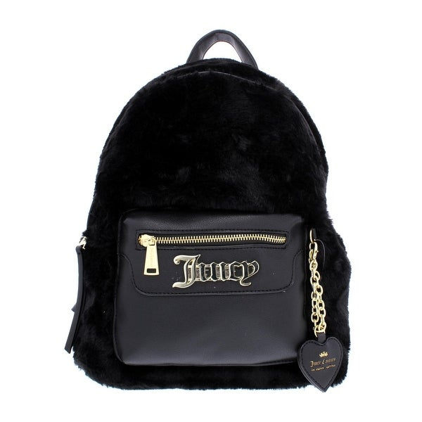 Juicy Couture Womens In The Mix Backpack Faux Fur Faux Leather Trim - Small 44e9d66ce38d
