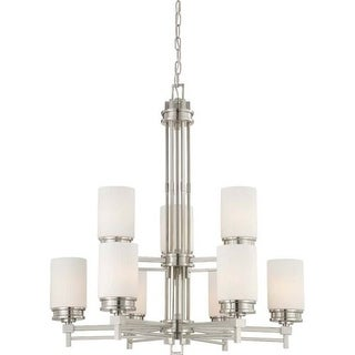 Nuvo Lighting 60/4709 Wright Nine Light Chandelier with Satin White Glass