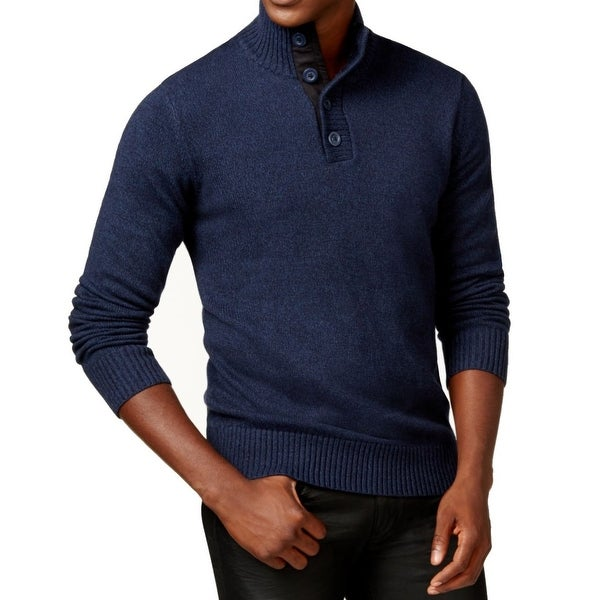 Shop Sean John Navy Blue Mens Size 3xl Twist Yarn Button