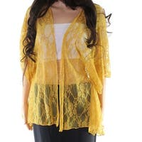 Polly & Esther Yellow Womens Large L Floral Lace Open Front Jacket
