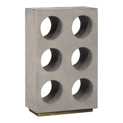 "Uttermost 18652 Kye 9 1/2"" Wide Industrial Style Concrete Wine Holder for 6 Standard Wine Bottles - Concrete / Gold"