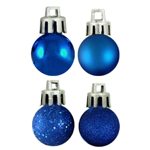 "18ct Lavish Blue 4-Finish Shatterproof Christmas Ball Ornaments 1.25"" (30mm)"
