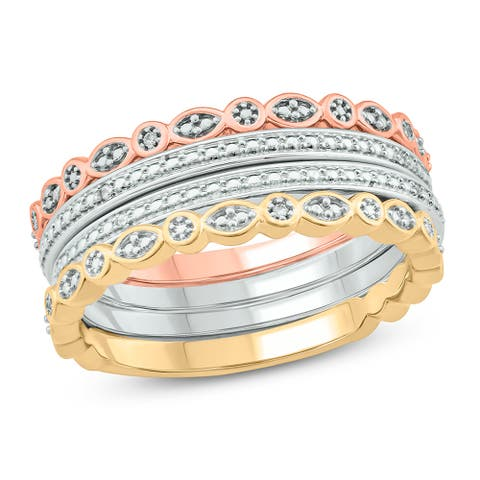 Cali Trove 1/20 Cttw Diamond Stackable Fashion Rings made in Sterling Silver in White Yellow & Rose
