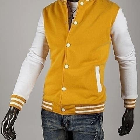 Mens Eight-Color Baseball Jacket Cardigan Sweater Slim Short Paragraph