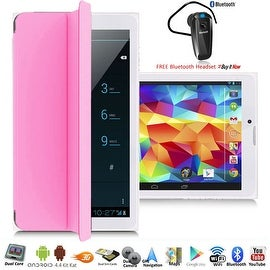 Indigi® 7.0inch Unlocked 3G 2-in-1 SmartPhone & TabletPC Android 4.4 w/ Built-in Smart Cover + Bluetooth Included(Pink)