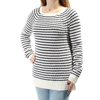MAISON JULES $70 Womens New 1374 White Striped Long Sleeve Sweater 2XS B+B