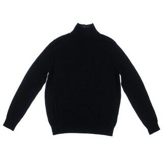 Nautica Mens Ribbed Trim 1/4 Zip Funnel-Neck Sweater