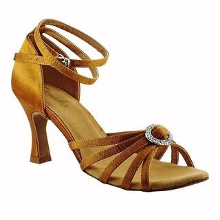 Sansha Adult Dark Tan Round Buckle Accent Barbara Ballroom Shoes Womens