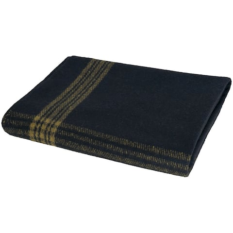 Military Wool Blanket Navy Blue/Gold