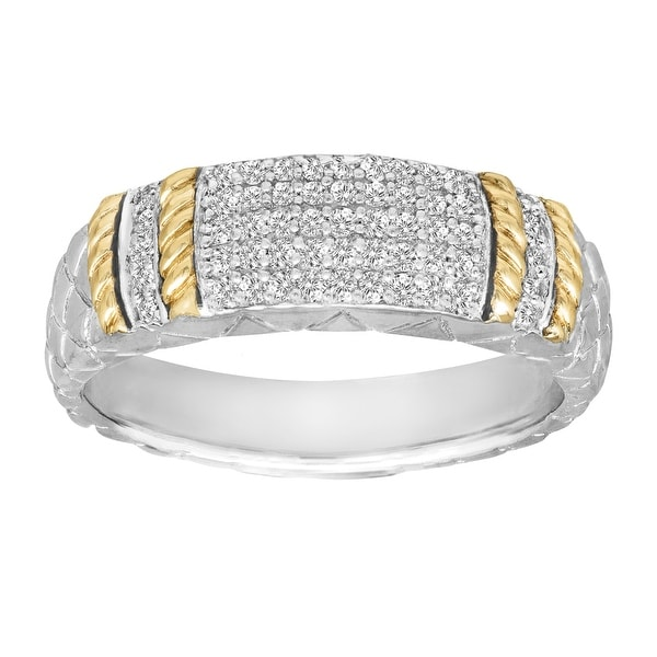1/5 ct Diamond Cable Ring in Sterling Silver and 14K Gold