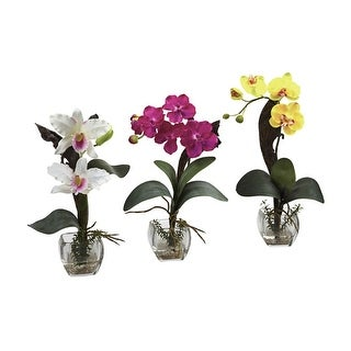 Nearly Natural Mixed Orchid with Cube Arrangements - Set of 3 - ortment3