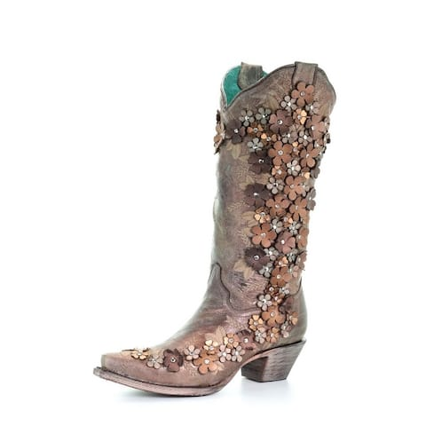 """Corral Western Boots Womens Floral Overlay 13"""" Tobacco"""