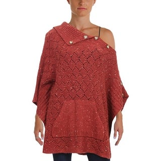 Democracy Womens Poncho Sweater Side Button Flecked - L