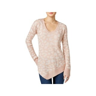 Calvin Klein Jeans Womens Pullover Sweater Asymmetric Animal Print