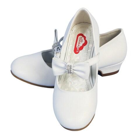 Angels Garment Little Girls White Rhinestone Bow Heeled Shoes 5-10 Toddler