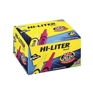 HI-LITER Desk Style Chisel Tip Highlighters, Fluorescent Pink and Yellow, Box of 24