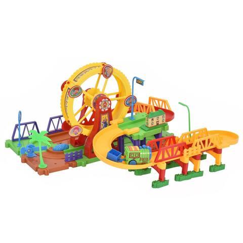 Costway 54PCS Plastic Brick Toys Electronic Building Blocks Railway - 21'' x12'' x3''