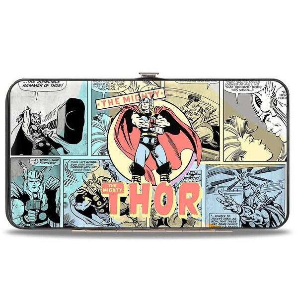 Marvel Comics Classic Thor Standing Pose + Comic Scene Blocks Multi Pastel Hinge Wallet - One Size Fits most