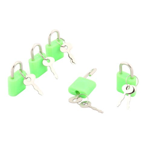 Household Cabinet Suitcase Shackle Security Protector Padlock 5pcs - Green