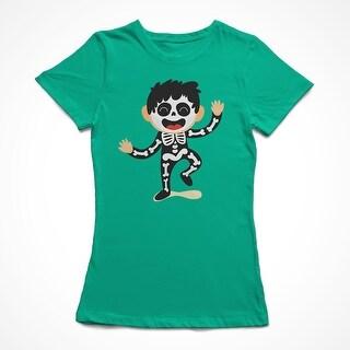 Cute Cartoon Boy In A Skeleton Costume Women's Kelly Green Halloween T-shirt