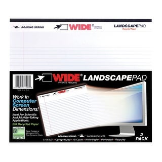 Roaring Legal Pad, 11 x 9-1/2 Inches, White, 40 Sheets, Pack of 2