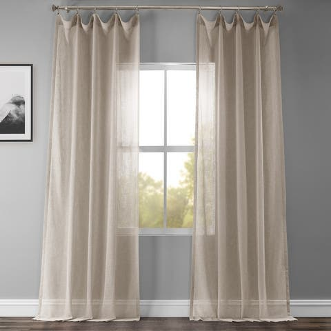Exclusive Fabrics Solid Faux Linen Sheer Curtain Panel