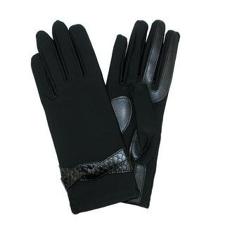 Isotoner Women's Fashion Gloves with Snake Print Belt - Black
