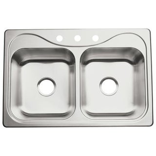 "Sterling 11401-3 Southhaven 33"" Double Basin Drop In Stainless Steel Kitchen Sink with SilentShield"