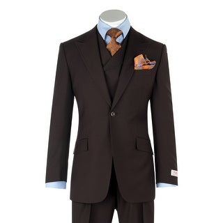 San Giovesse Brown Wide Leg, Pure Wool Suit & Vest by Tiglio Rosso