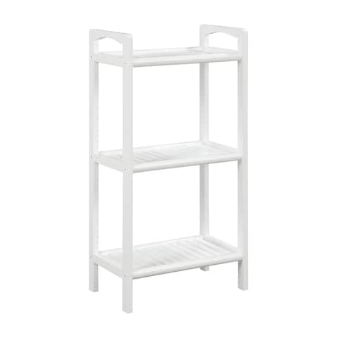 """46"""" White Contemporary Solid 3 Shelf Tower Bookcase"""