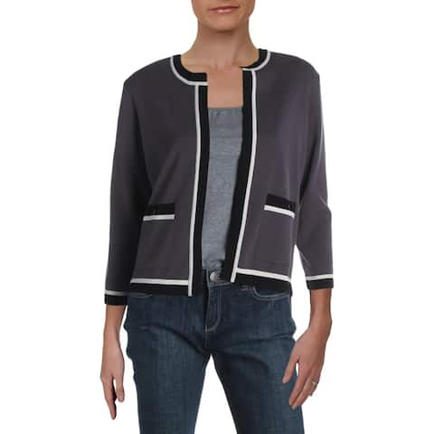 Anne Klein Womens Cardigan Sweater Contrast Trim Layering - Nantucket/Anne Black Combo - XS