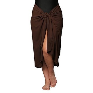 Plus Size Long Brown Swimsuit Sarong Cover Up with Built in Ties
