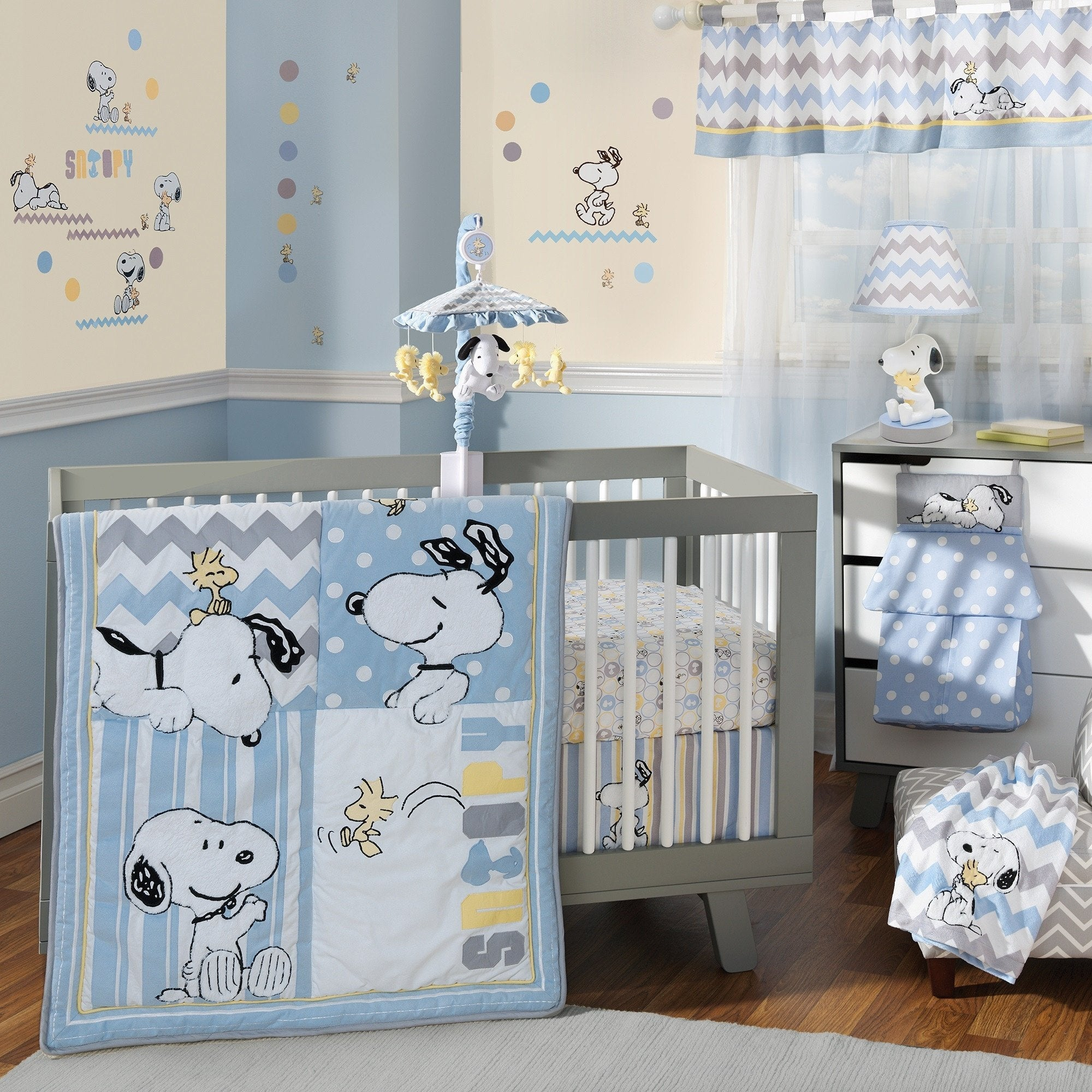 Lambs Ivy My Little Snoopy Blue White Gray Yellow Nursery 4 Piece Baby Crib Bedding Set
