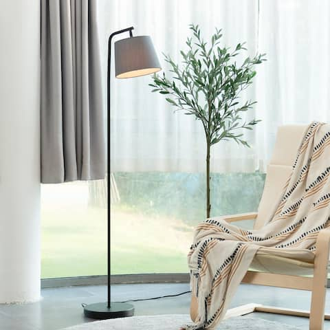 """CO-Z 56"""" Arc Floor Lamp with Adjustable Gray Fabric Shade"""
