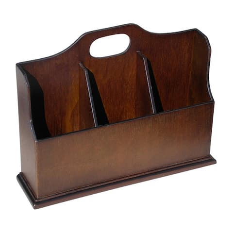 Offex Handmade Solid Mahogany Wood Envelope Box Desk Organizer