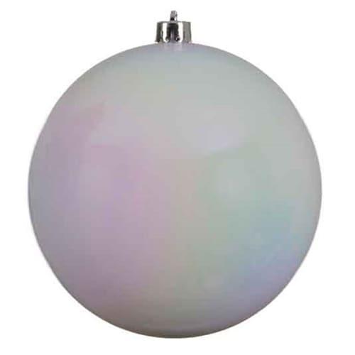 White Iridescent Baubles - Shatterproof - Single 140mm