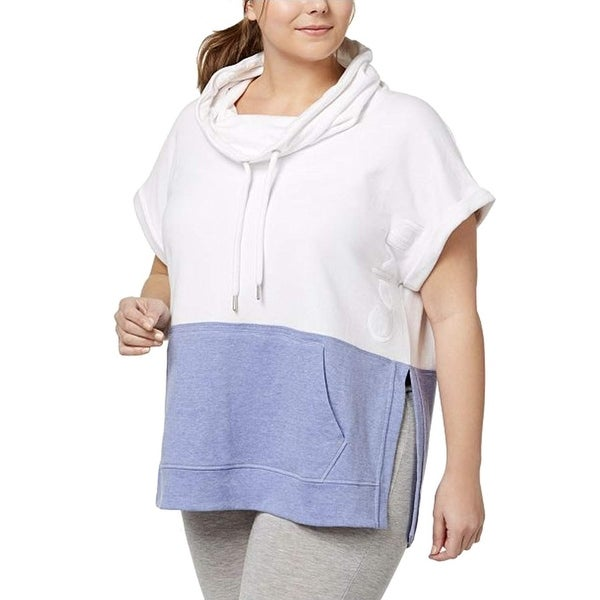 22b64e93409718 Calvin Klein Performance Women  x27 s Plus Size Colorblocked Cowl-Neck  Sleeveless Top