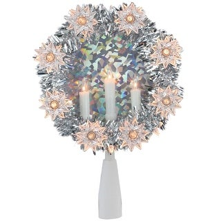 """Link to 7"""" Silver Wreath with Candles Christmas Tree Topper - Clear Lights Similar Items in Christmas Greenery"""
