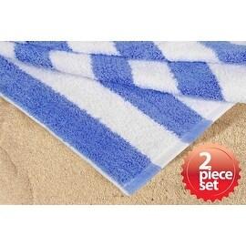 "100% Cotton Soft Super Absorbent Cabana Stripe Bath Beach Towel 30""x60"" 2 Piece Set"