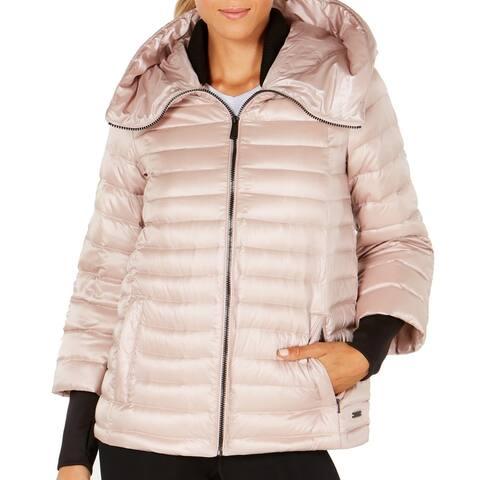 Calvin Klein Womens Down Jacket Pink Size Medium M Activewear Hooded