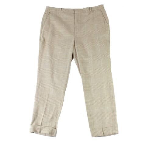 Lauren by Ralph Lauren Womens Pants Beige Size 16 Cuffed Plaid Stretch